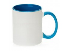 Cana ceramica - Alb / Albastru - 300 ml